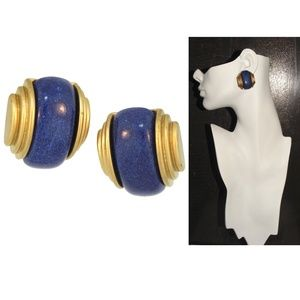 VTG 80s Art Deco Revival Earrings Gold & Blue CLIP